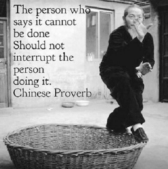 The person who says it cannot be done Should not interupt the person doing it