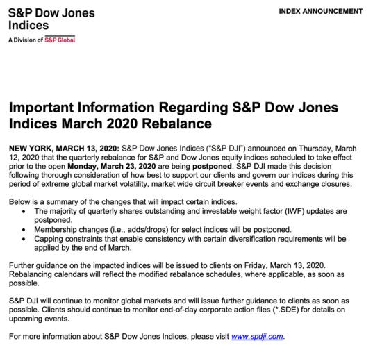 S&P Dow Jones Indices postpone delay index update march 2020