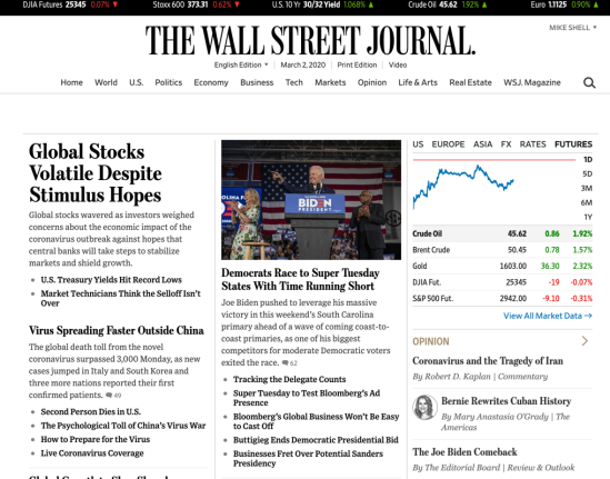 WSJ bearish coronavirus news